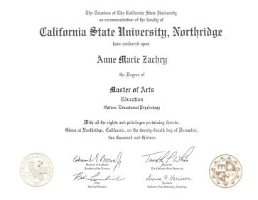 Anne's MA Diploma - Educational Psychology