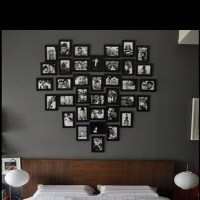 Photo frame wall arrangement idea   Photo Decor   Pinterest