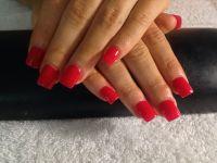 Plain red acrylic nails | {beauty} | Pinterest