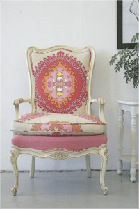 Reupholstered antique chair | DIY | Pinterest