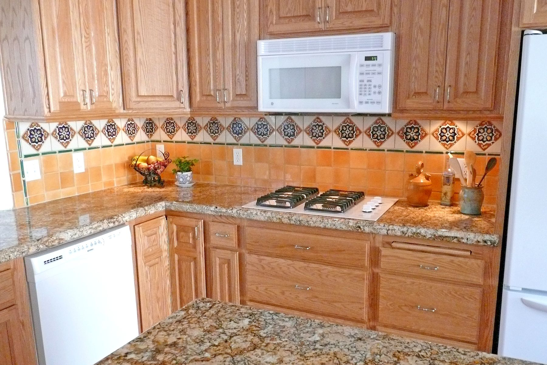 Spanish Tile Countertops Kitchen With Mexican Tiles Backsplash For The Home
