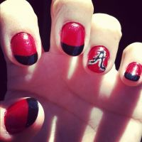 Alabama nail art Roll Tide! | Nail designs | Pinterest