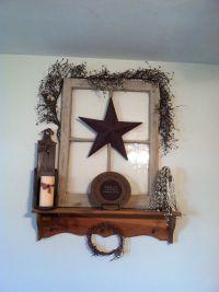 Old window primitive decor | Mantel Decorating Ideas ...