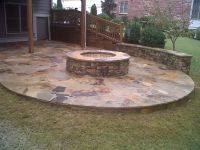 Outdoor stone fire pit. | garden ideas | Pinterest