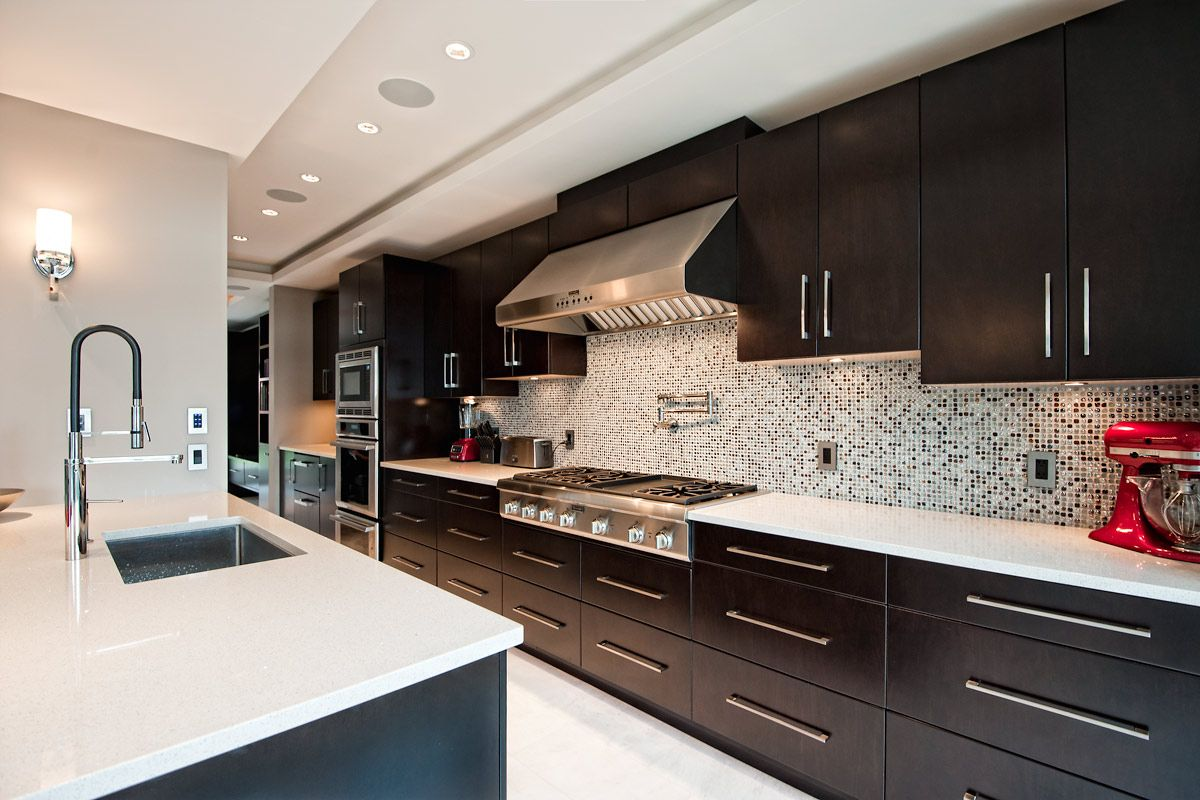Long Kitchen Wall Cabinets Long Kitchen With Espresso Cabinets Kitchen Ideas