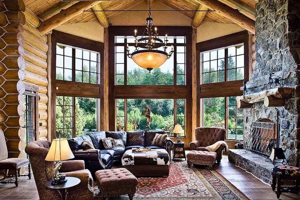 Luxury Mountain Log Homes Interiorcustom Luxury Mountain Log Home - log cabin living rooms