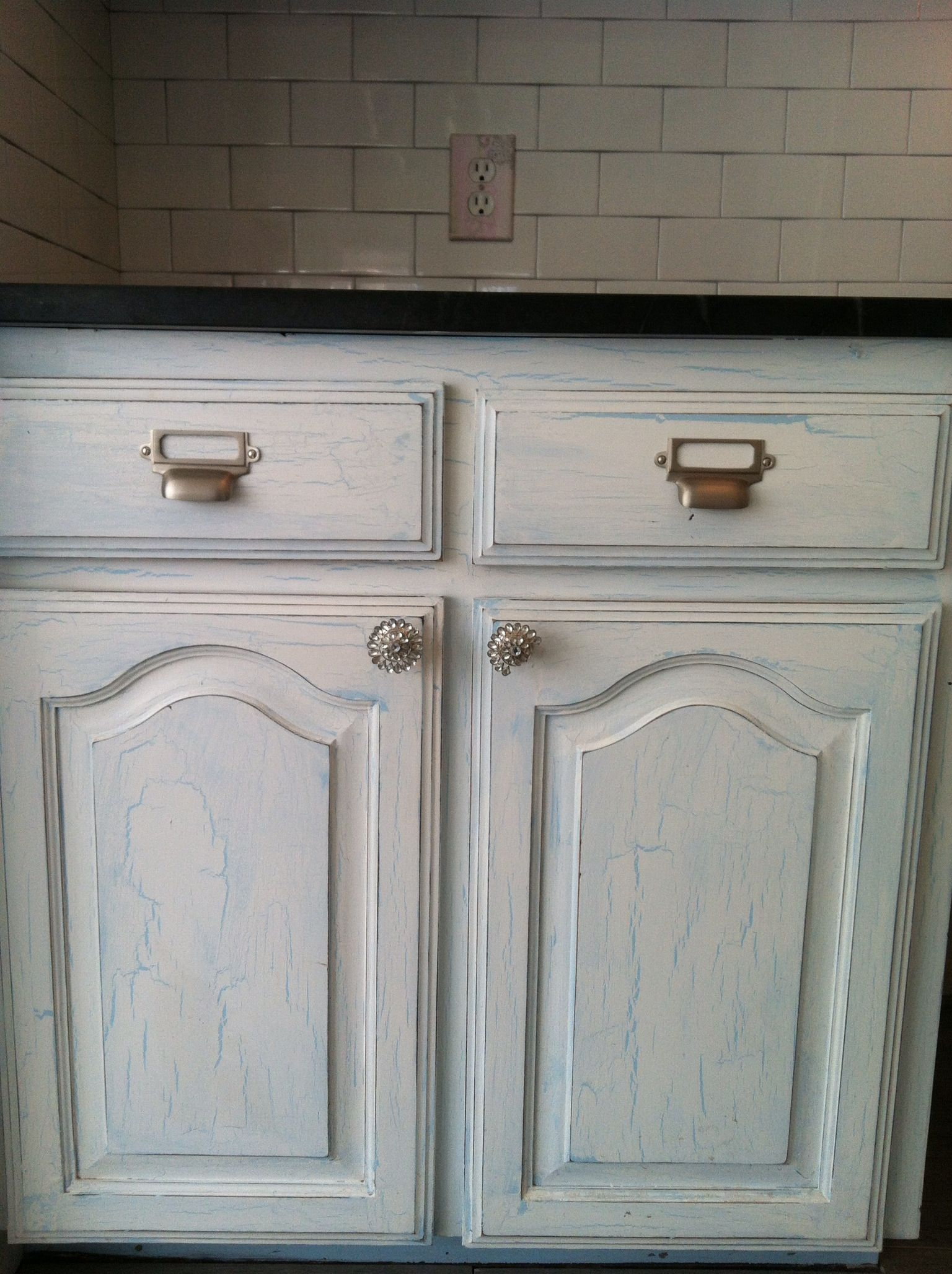 Crackle Paint Kitchen Cabinets Crackle Finished Cabinets For The Home Pinterest