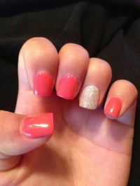Solid color acrylic glitter nail | nail designs | Pinterest