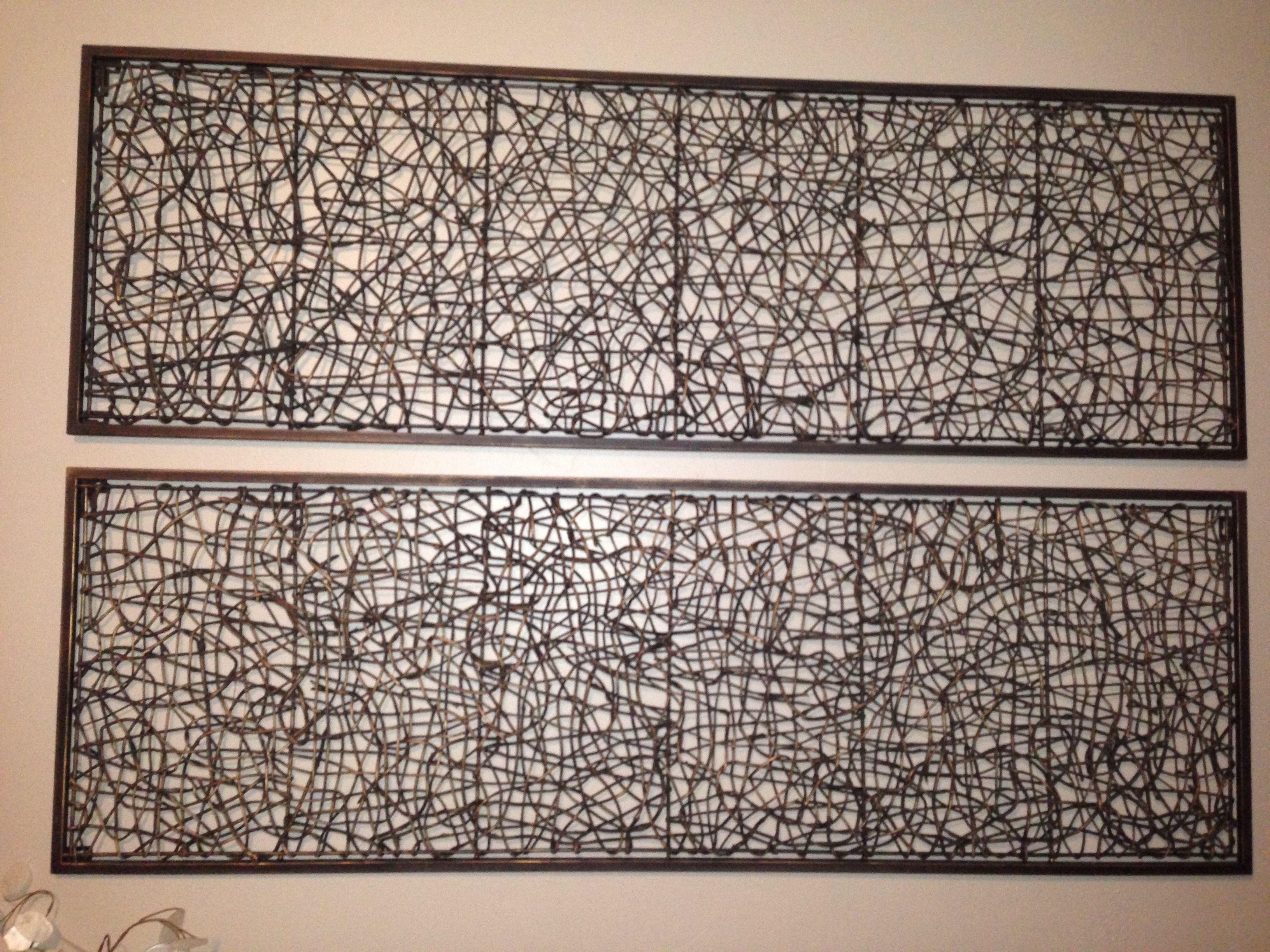 Metal and rattan wall decor