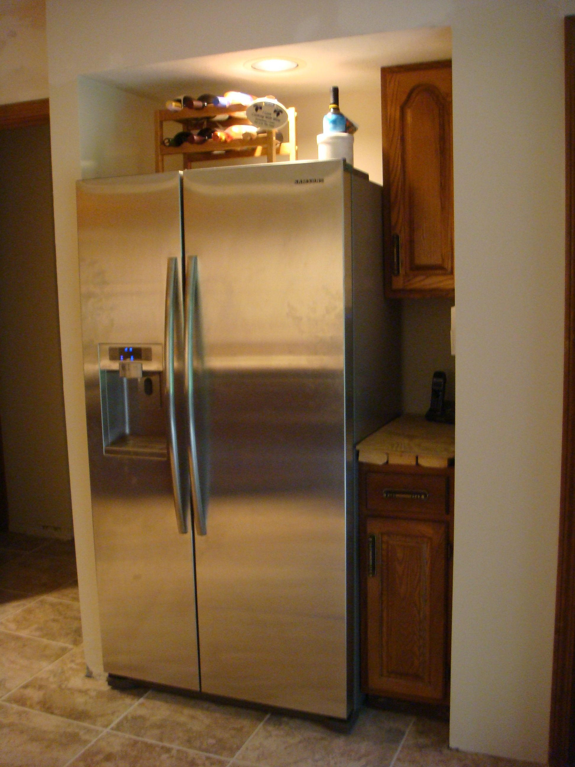 Kitchen Cabinets Around Refrigerator Cabinets Relocated Around Refrigerator Kitchen Remodel