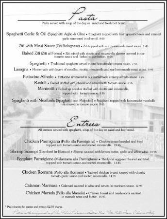 Sample Menu - Picture of San Vito Italian Restaurant  Pizzeria - italian menu
