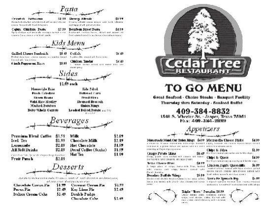 To Go Menu - Picture of Cedar Tree Restaurant, Jasper - TripAdvisor