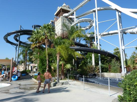 Eating in our cabana - Picture of Six Flags Hurricane Harbor, Santa