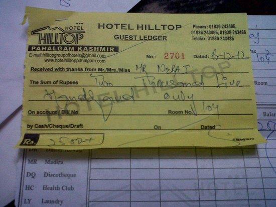 Cash Receipt - Picture of Hotel Hilltop, Gulmarg - TripAdvisor - Cash Recepit