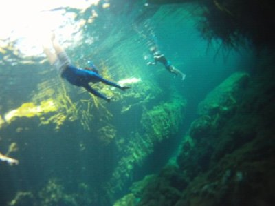 Kids snorkeling in a beautiful cenote - Picture of Mexican Caribbean Kitesurf & Paddlesurf ...