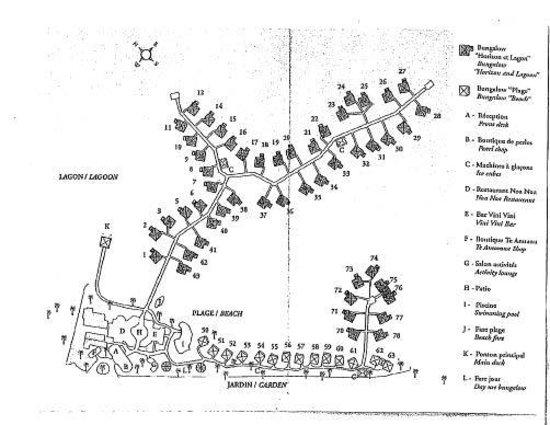Bora Bora InterContinental Le Moana Bungalow Map (with bungalow - travel survey template
