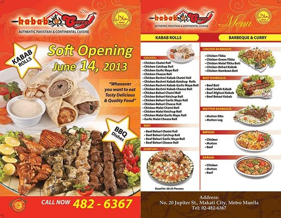 flyer which has the menu for the halal pakistani restaurant