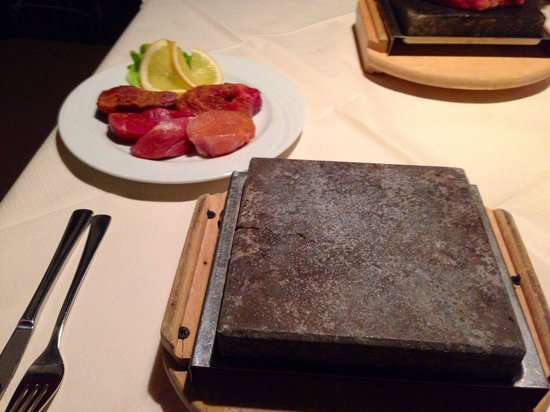Steakhouse Regensburg A Mix Plate Of Meat, With Hot-stone For Self Service Cook