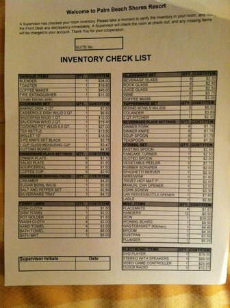 Kitchen checklist of items - Picture of Palm Beach Shores Resort