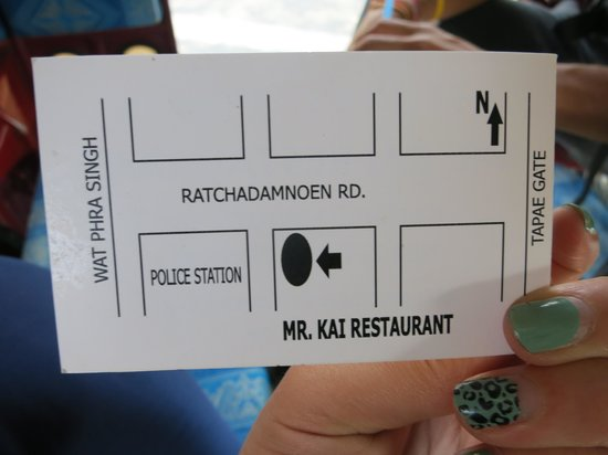 back of business card with Map and Location - Picture of Mr Kai