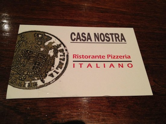 Business card - Picture of Casa Nostra Italian Restaurant, London