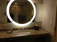 Mirror in the bathroom -- with TV inside - Picture of ...