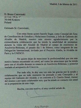 carta de agradecimiento de alcalde de Madrid fotografía de Guia