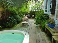 Backyard grotto area, L shaped - Picture of Key West Bed ...