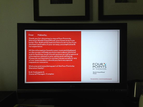 Hotel Welcome Message - Picture of Four Points by Sheraton Sheikh