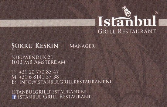 Business card - Picture of Istanbul Grill Restaurant, Amsterdam