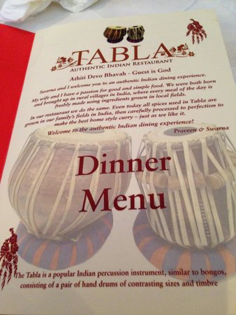 A Welcome Statement - Picture of Tabla Authentic Indian Restaurant