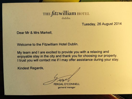 Dwayne Reed Welcome Back To School Official Onward Our Welcome Letter Picture Of Fitzwilliam Hotel Dublin