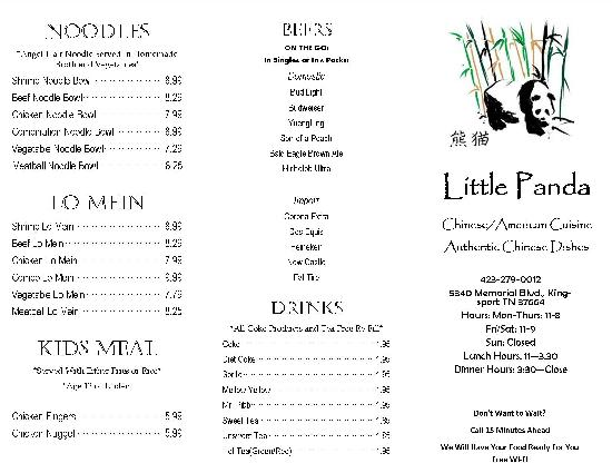 to-go menu - Picture of Little Panda, Kingsport - TripAdvisor