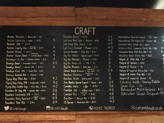 Craft beer menu - Picture of Craft  Dough, Sheffield - TripAdvisor
