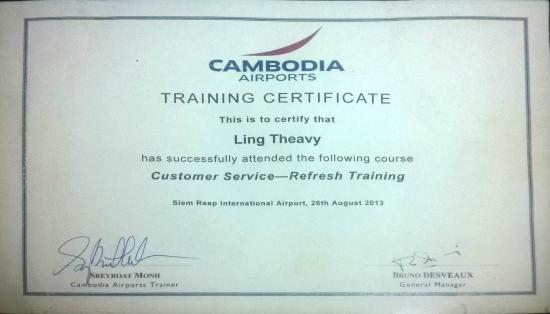 Customer Service Training Certificate - Picture of Angkor Temple