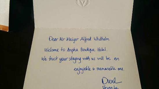 Handwritten Welcome Letter - Picture of Anpha Boutique Hotel, Ho