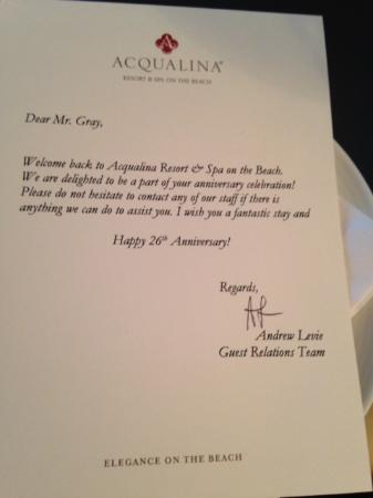 Personalized welcome letter - Picture of Acqualina Resort  Spa on