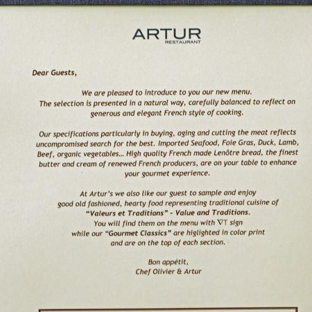 A Fine Statement of Commitment - Picture of ARTUR Restaurant - restaurant statement