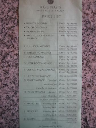 price list - Picture of Agung\u0027s Massage  Salon, Lovina Beach