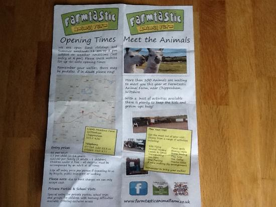 Brochure back - Picture of Farmtastic Animal Farm, Royal Wootton