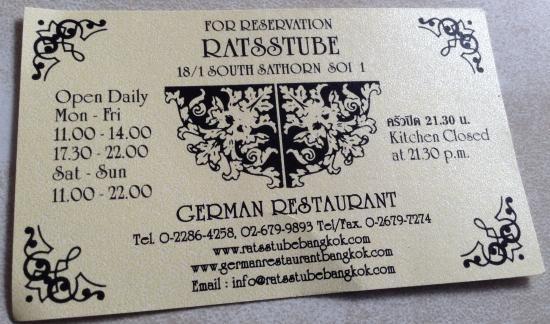 Restaurant Business Card - Picture of Ratsstube German Restaurant