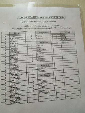 Housekeeping inventory sheet - Picture of Hawthorn Suites by Wyndham