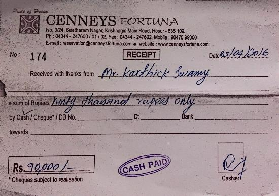 cash receipt of this hotel - Picture of TGI Grand Fortuna, Hosur - cash receipt