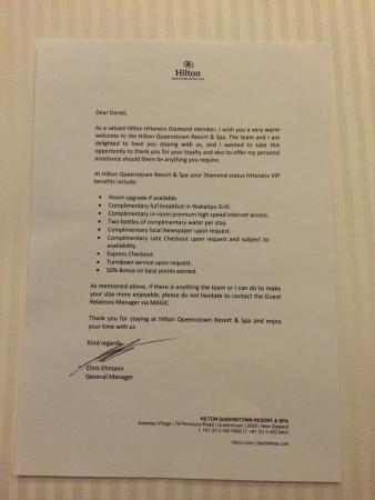 The welcome letter from the hotel manager - Picture of Hilton