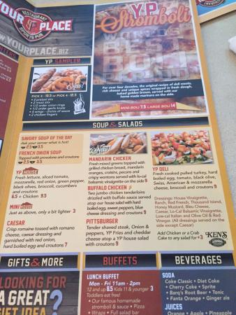 menu - Picture of Your Place Restaurant  Sports Pub, Hershey