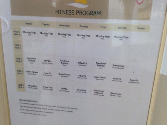Fitness class timetable - Picture of Sensimar Resort Riviera Maya
