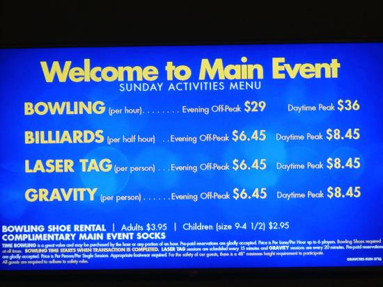 Prices - Picture of Main Event Entertainment, Oklahoma City