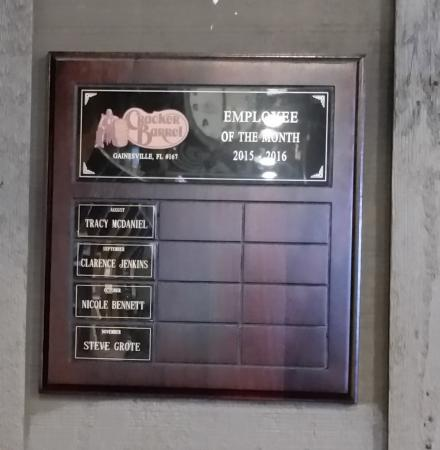 Employee of the Month????? - Picture of Cracker Barrel, Gainesville - employee of the month 2