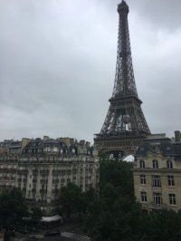 The balcony view of the Eiffel Tower from our room ...