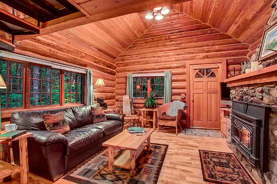Mtn Home log cabin living room - Picture of Deep Forest Cabins at - log cabin living rooms